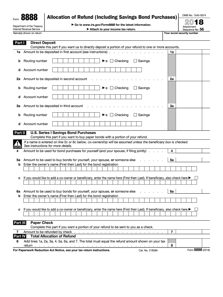 2018 Form IRS 8888 Fill Online, Printable, Fillable, Blank
