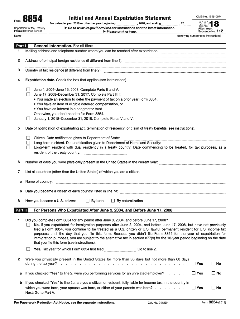 2018 Form IRS 8854 Fill Online, Printable, Fillable, Blank
