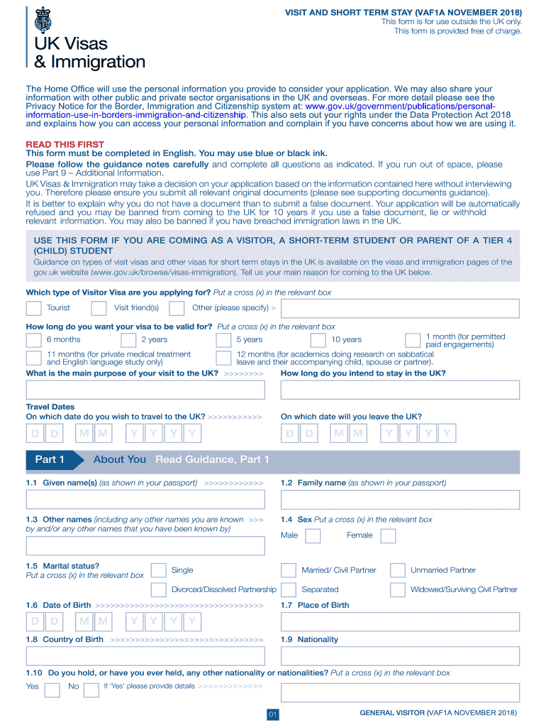 2018 Form UK VAF1A Fill Online, Printable, Fillable, Blank - PDFfiller