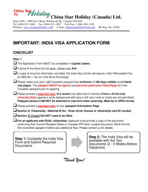 Fillable Online India Visa Application Form China Star Holiday Fax Email Print Pdffiller