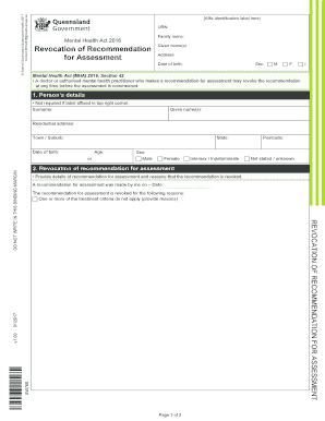 Fillable Online Forms Mental Health Act 2016 Queensland Health Fax Email Print Pdffiller