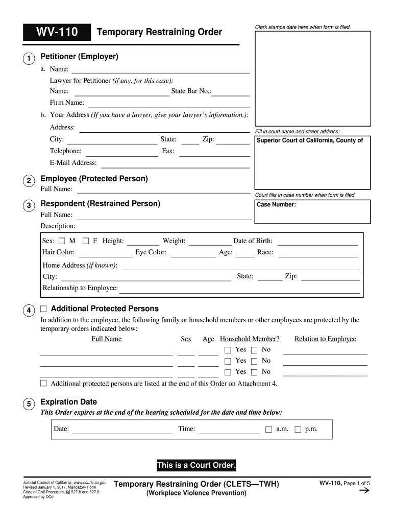 2017 2020 Form Ca Wv 110 Fill Online Printable Fillable