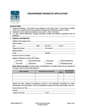 Fillable Online discontinued products application - Vela