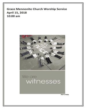 Fillable Online Grace Mennonite Church Worship Service Fax Email Print Pdffiller