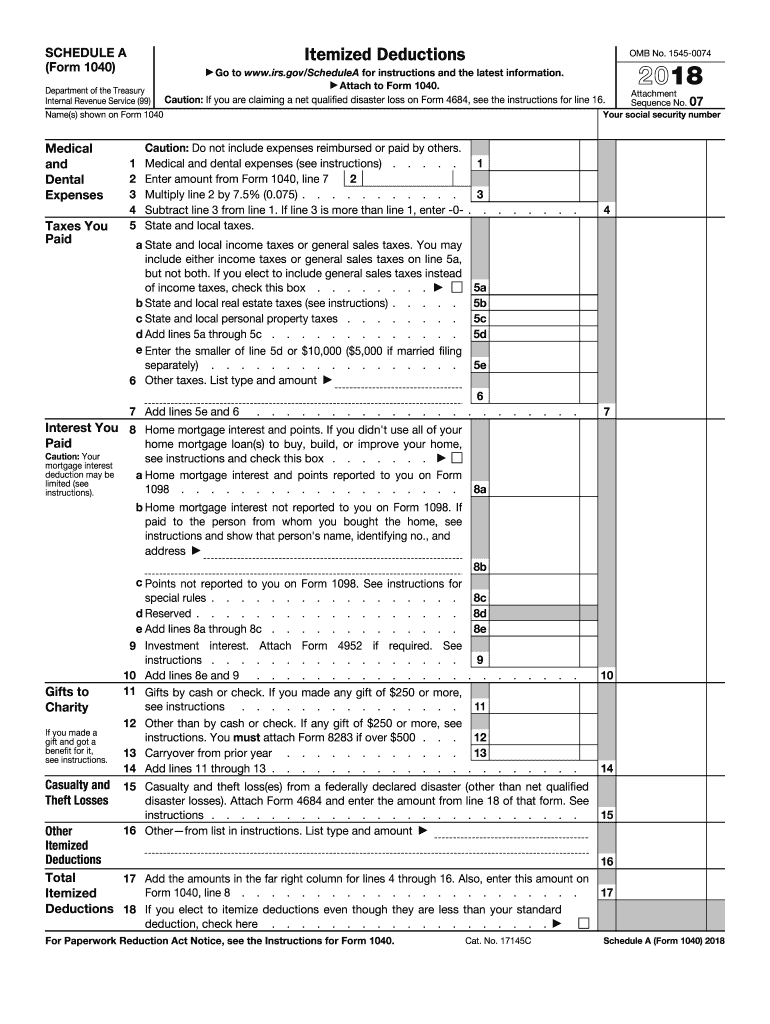 2018 Form IRS 1040 - Schedule A Fill Online, Printable