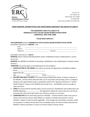 Fillable horse boarding liability waiver - Edit Online & Download