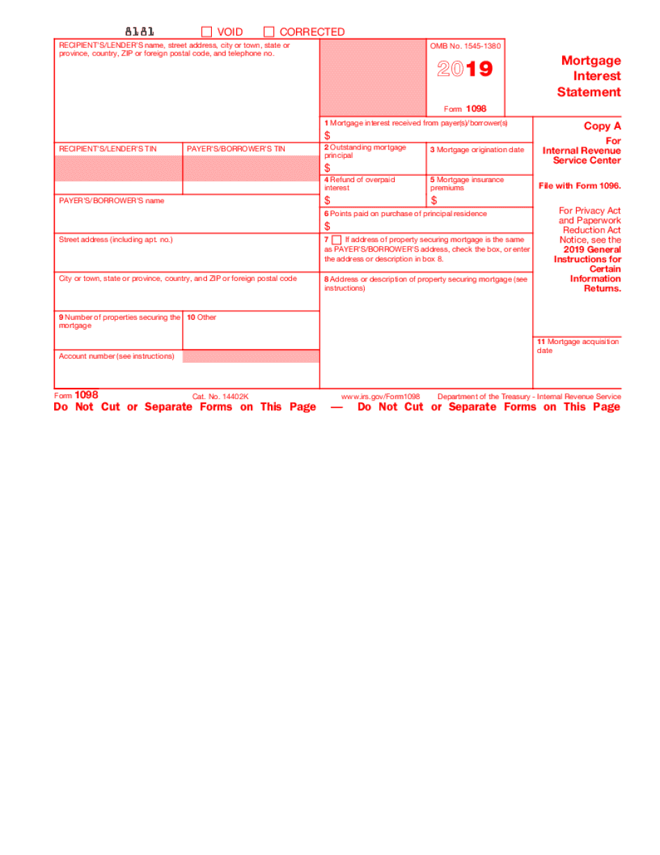 2019 - 2020 form 1098 mortgage interest