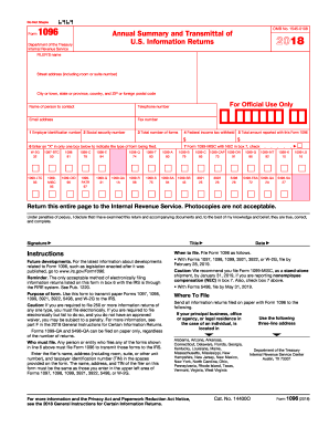 2018 Form IRS 1096 Fill Online, Printable, Fillable, Blank