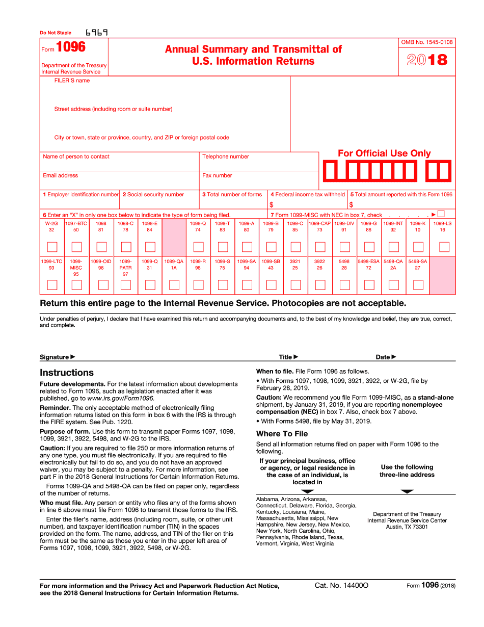 form 1096 instructions