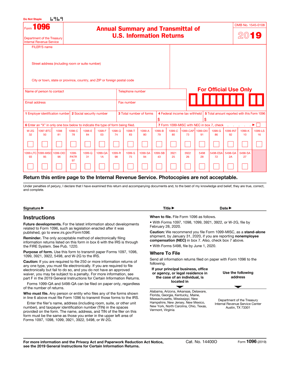 order irs form 1096 for 2018