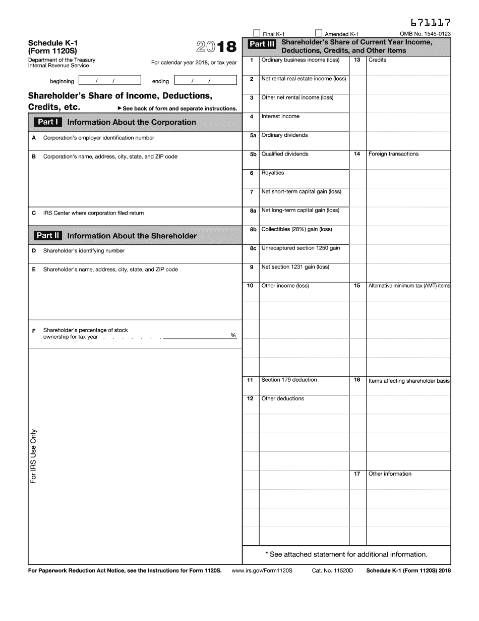 irs form 1120s schedule k instructions