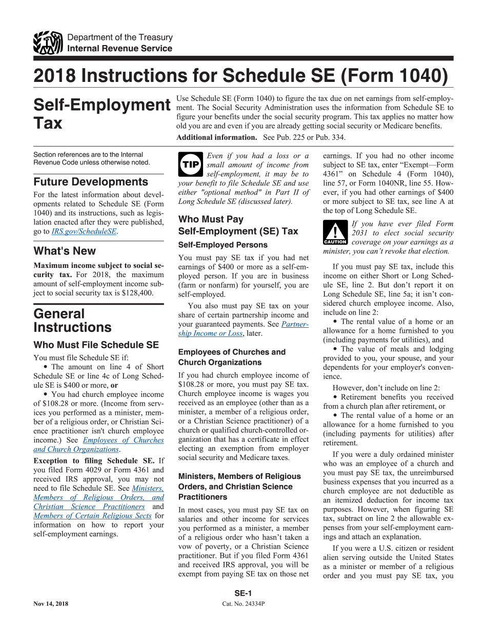 Irs Instructions 1040 Schedule Se 2018 2019 Printable