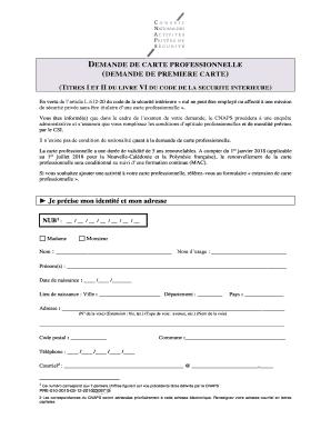 demande carte professionnelle cnaps Remplissable En Ligne Remplissable DEMANDE DE CARTE