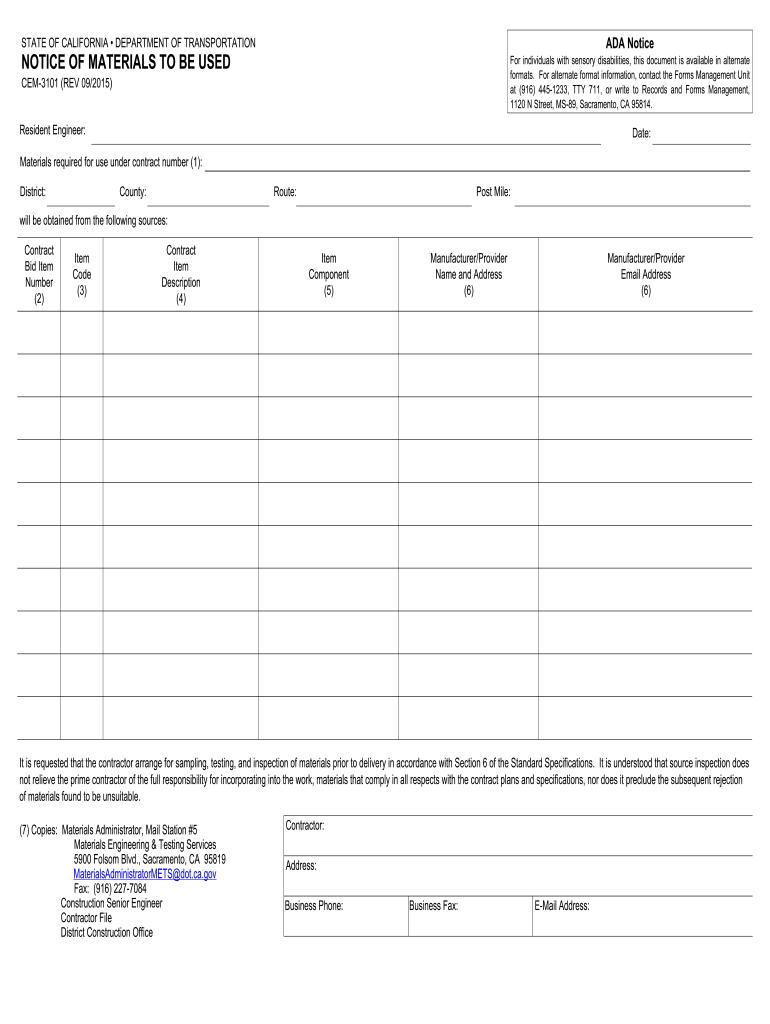 2015-2019 Form CA CEM-3101 Fill Online, Printable, Fillable