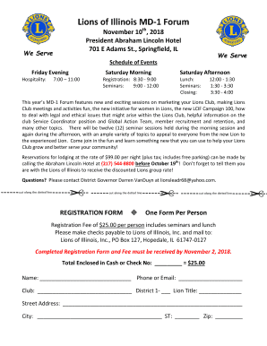 Fillable Online Lions of Illinois MD-1 Forum Fax Email Print