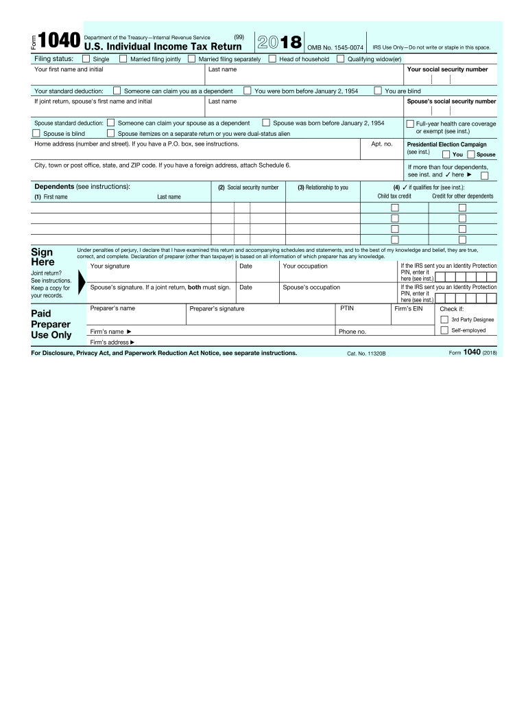 printable 1040 form 2018  17 Form IRS 17 Fill Online, Printable, Fillable, Blank ...