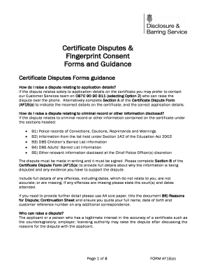 dbs certificate disputes and fingerprint consent forms and govuk
