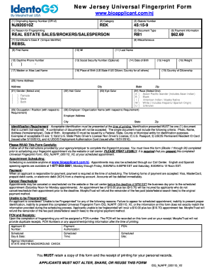 Nj Universal Fingerprint Form Fill Online Printable Fillable