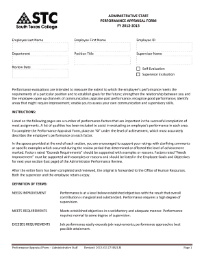 Administrative staff performance appraisal form fy 2012-2013