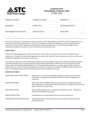 Classified staff performance appraisal form fy 2012 - 2013 - Human ...