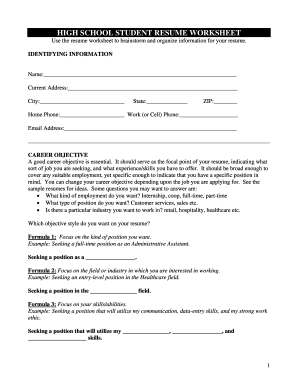 Worksheets Fill In The Blank Resume Worksheet resume worksheet printable form fill online fillable online