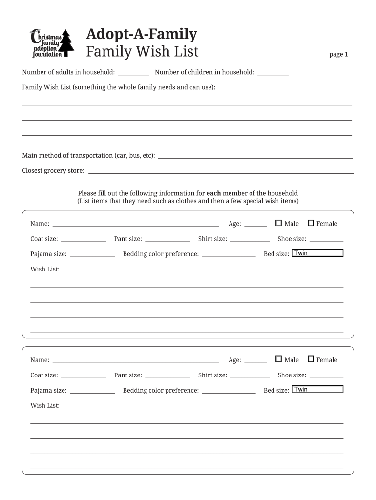 Adopt A Family Christmas Wish List Template.Fillable Online Family Wish List Form Adopt A Family Fax