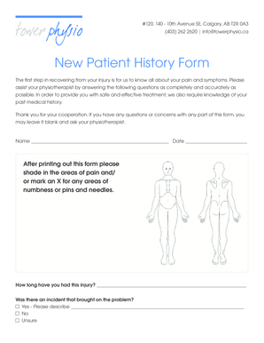 New Patient History Form - Tower Physio - towerphysio