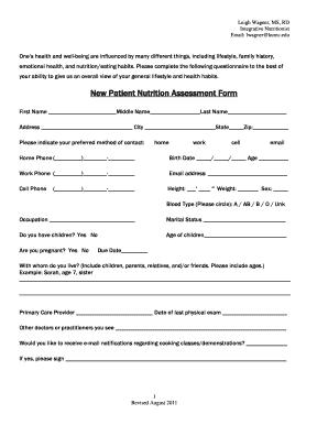 Nutritional Assessment Form - Fill Online, Printable, Fillable ...