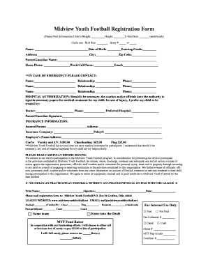 Fillable Online Midview Youth Football Registration Form Fax