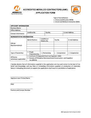 Fillable Online meralco com Page 1 AMC Application Form v5 (June 5 ...