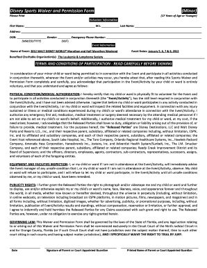 Disney Sports Waiver And Permission Form Minor