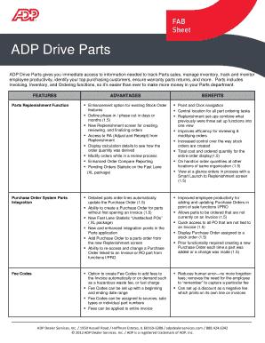 Fillable Online ADP Drive Parts - ADP Dealer Services International