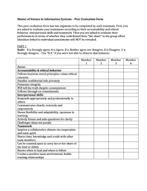 rate this form - Peer Evaluation Form