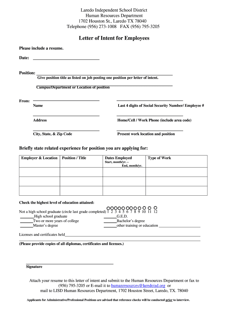 Sample Letter Of Intent For Job Position from www.pdffiller.com