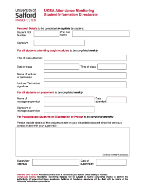 Attendance Monitoring Record Form (AMRF) - My Student ... - mystudentinfo salford ac