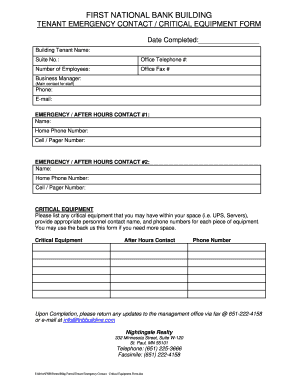 tenant emergency contact form editable fillable printable