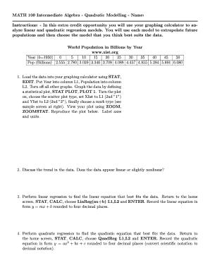 quadratic regression calculator - Edit, Fill, Print