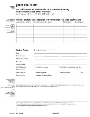 Bestellformular f r Edelmetalle zur Sammelverwahrung ... - Pro Aurum ...