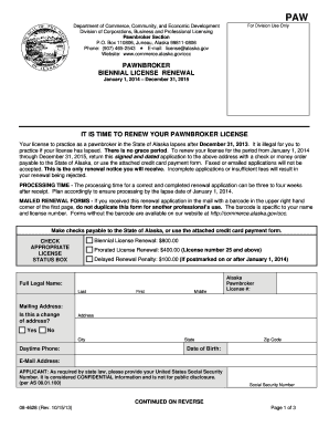 Biennial Renewal of Pawnbroker License Application - Alaska ... - commerce alaska