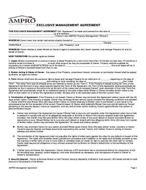 EXCLUSIVE MANAGEMENT AGREEMENT - Ampro Property ...