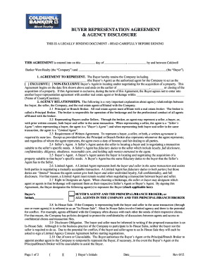 Fillable Online Buyer Representation Agreement Coldwell Banker