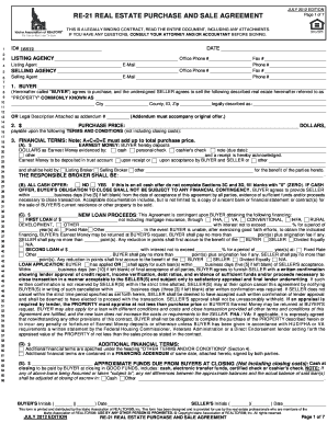 residential real estate purchase and sale agreement form 21 ...