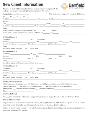 Fillable Online New Client Form - Banfield Pet Hospital Fax Email ...