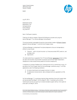 Customer letter July 24 - Support Extension (.PDF) - HP OpenView ...