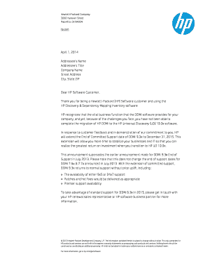 Customer letter - April 2014 (.PDF) - HP OpenView technical support
