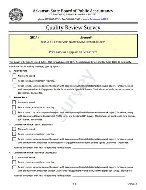 Quality Review Survey Form - State of Arkansas