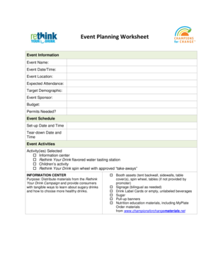 Event Planning Worksheet - California Department of Public Health