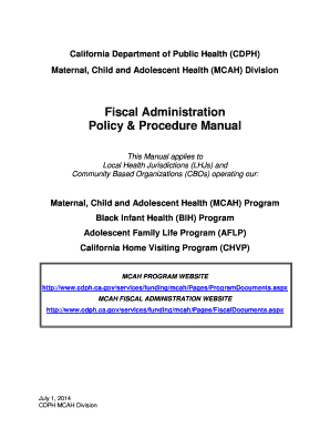 FY 2014-2015 Fiscal Policy & Procedures Manual - California ... - cdph ca