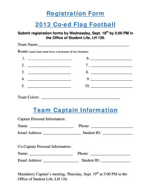 Football Team Registration Form Fill Online Printable Fillable