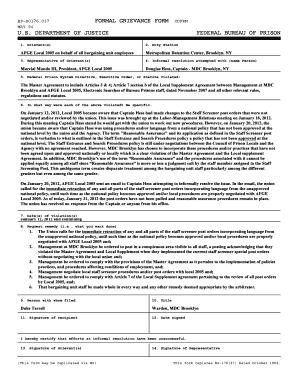 Fillable Online afgelocal2005 FORMAL GRIEVANCE FORM CDFRM U.S. ...